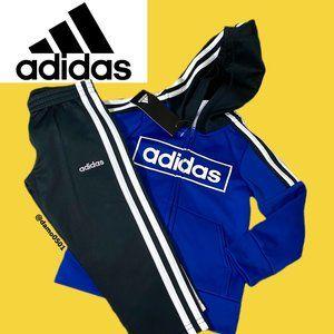 NWT Adidas Boys Blue/Black 2 Piece Tracksuit